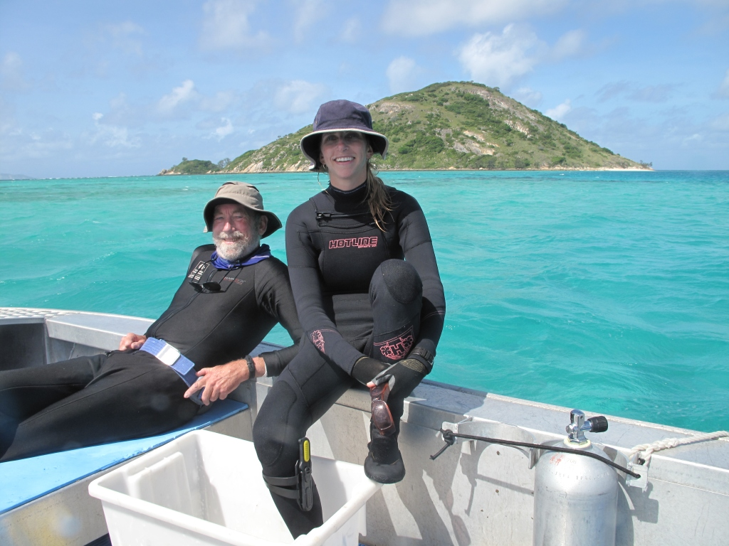 Bob Warner and Elizabeth in between dives at one of our field sites in the lagoon at Lizard Island.